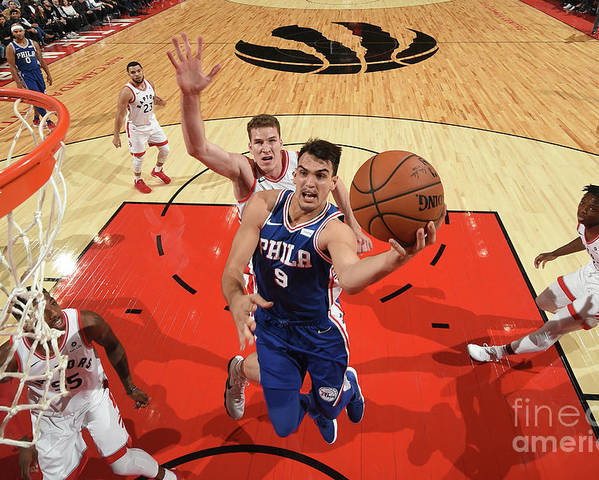 Nba Pro Basketball Poster featuring the photograph Philadelphia 76ers V Toronto Raptors by Ron Turenne