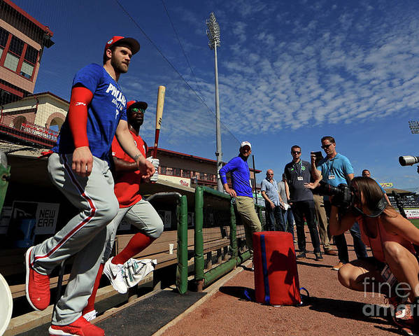 Working Poster featuring the photograph Philadelphia Phillies Bryce Harper by Mike Ehrmann