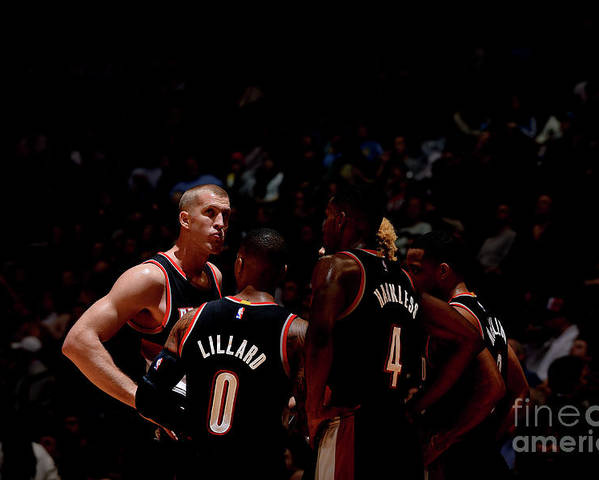 Nba Pro Basketball Poster featuring the photograph Portland Trail Blazers V Denver Nuggets by Bart Young