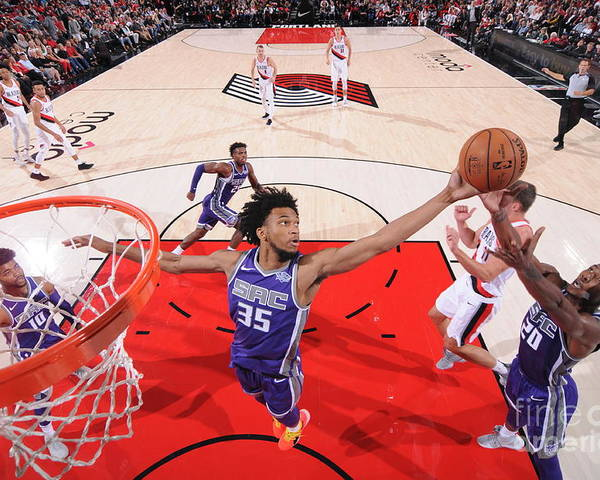 Nba Pro Basketball Poster featuring the photograph Sacramento Kings V Portland Trail by Sam Forencich