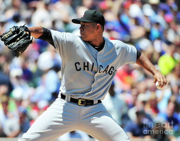 Three Quarter Length Poster featuring the photograph Chicago White Sox V Chicago Cubs by David Banks