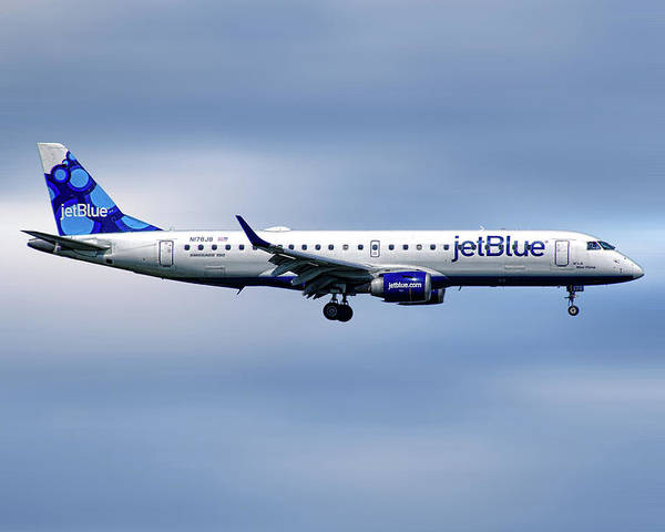 Jetblue Poster featuring the mixed media Jetblue Airways Embraer Erj-190ar by Smart Aviation