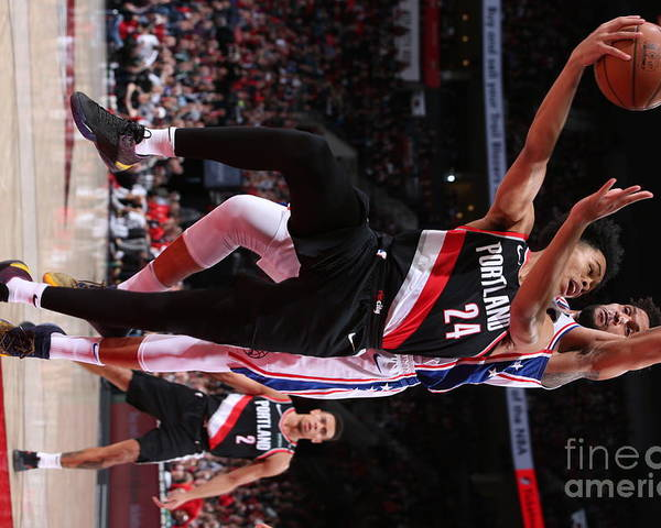 Nba Pro Basketball Poster featuring the photograph Philadelphia 76ers V Portland Trail by Sam Forencich