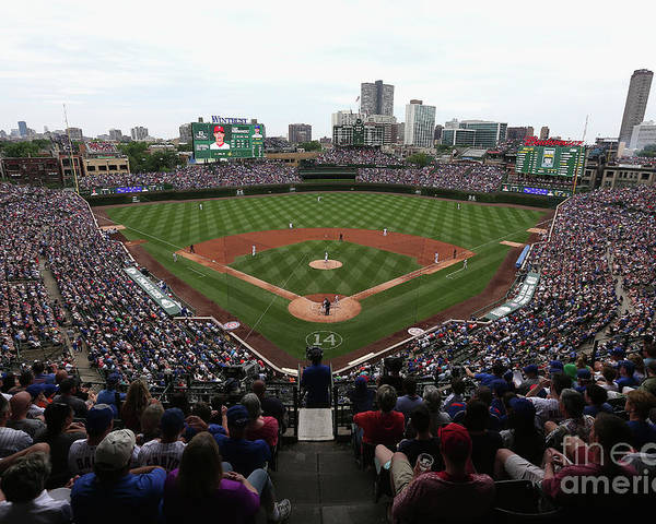 American League Baseball Poster featuring the photograph Philadelphia Phillies V Chicago Cubs by Jonathan Daniel