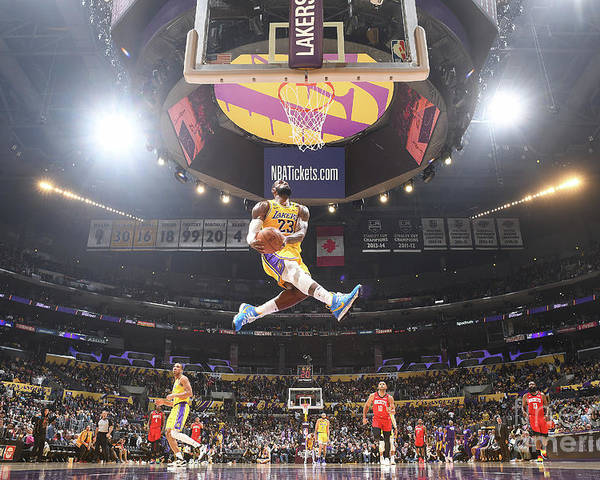 Nba Pro Basketball Poster featuring the photograph Lebron James Double-Clutch Reverse Dunk Tribute to Kobe Bryant by Andrew D. Bernstein