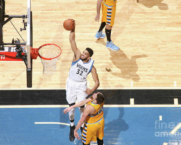 Nba Pro Basketball Poster featuring the photograph Denver Nuggets V Minnesota Timberwolves by David Sherman
