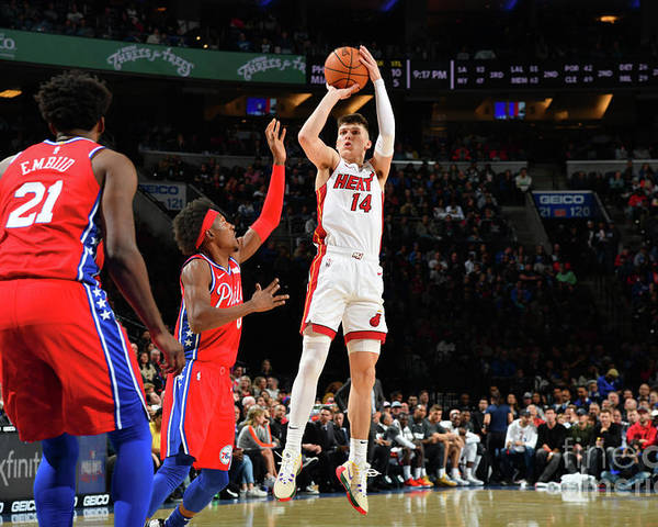 Tyler Herro Poster featuring the photograph Miami Heat V Philadelphia 76ers by Jesse D. Garrabrant