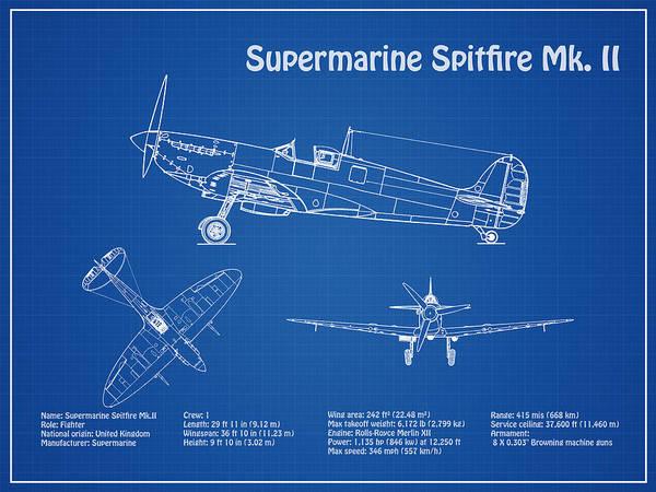 Supermarine Spitfire Mk  II - Airplane Blueprint  Drawing Plans For Wwii  Supermarine Spitfire Mk ii Poster