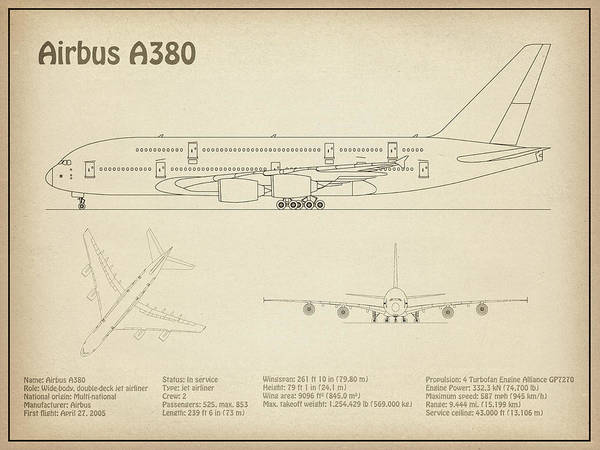 Airbus A380 - Airplane Blueprint. Drawing Plans Or Schematics With on