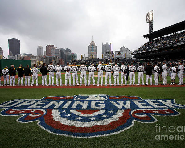 American League Baseball Poster featuring the photograph Atlanta Braves V Pittsburgh Pirates by Justin K. Aller