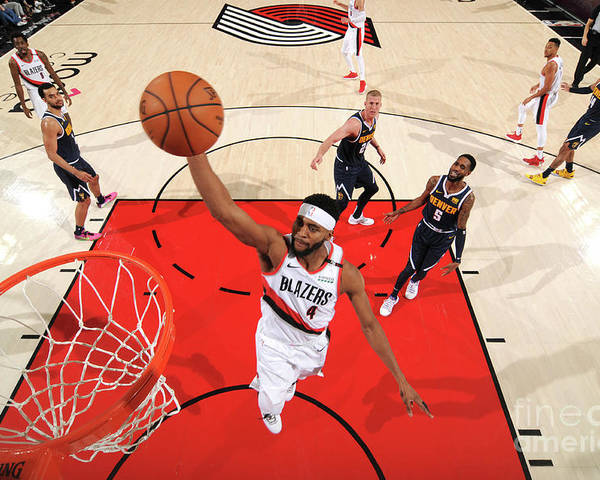 Moe Harkless Poster featuring the photograph Denver Nuggets V Portland Trail Blazers by Cameron Browne