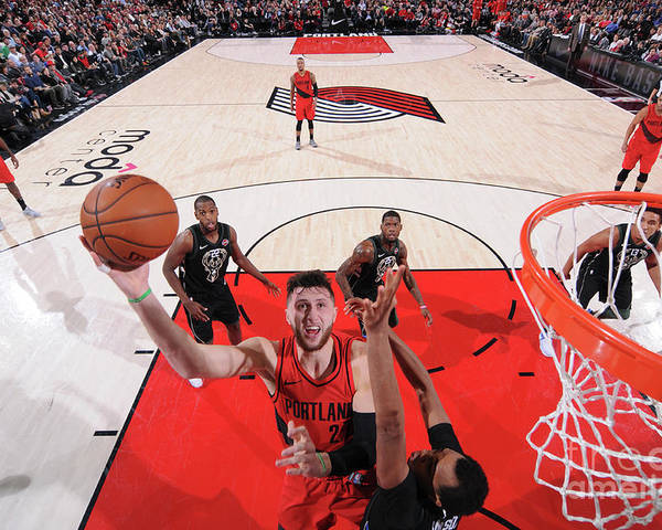 Jusuf Nurkić Poster featuring the photograph Milwaukee Bucks V Portland Trail Blazers by Sam Forencich
