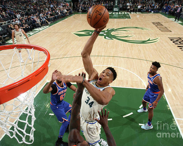 Nba Pro Basketball Poster featuring the photograph New York Knicks V Milwaukee Bucks by Gary Dineen