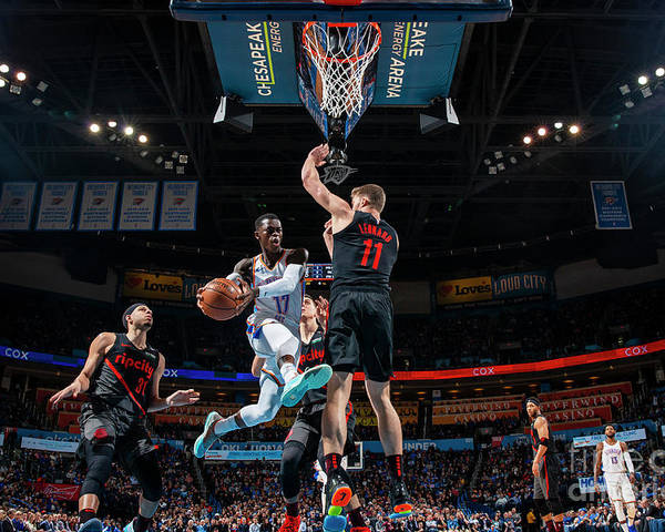 Nba Pro Basketball Poster featuring the photograph Portland Trail Blazers V Oklahoma City by Zach Beeker