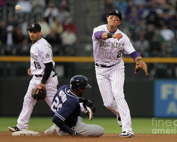 Double Play Poster featuring the photograph San Diego Padres V Colorado Rockies by Doug Pensinger