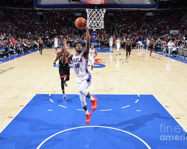 Nba Pro Basketball Poster featuring the photograph Toronto Raptors V Philadelphia 76ers by Jesse D. Garrabrant
