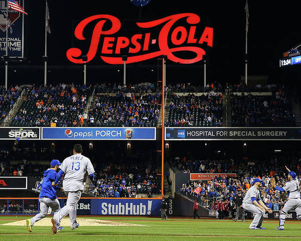 American League Baseball Poster featuring the photograph World Series - Kansas City Royals V New by Al Bello