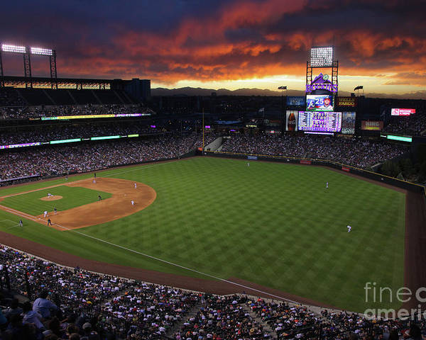 National League Baseball Poster featuring the photograph Atlanta Braves V Colorado Rockies by Doug Pensinger