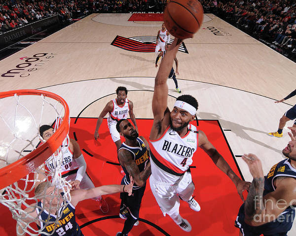 Moe Harkless Poster featuring the photograph Denver Nuggets V Portland Trail Blazers by Sam Forencich