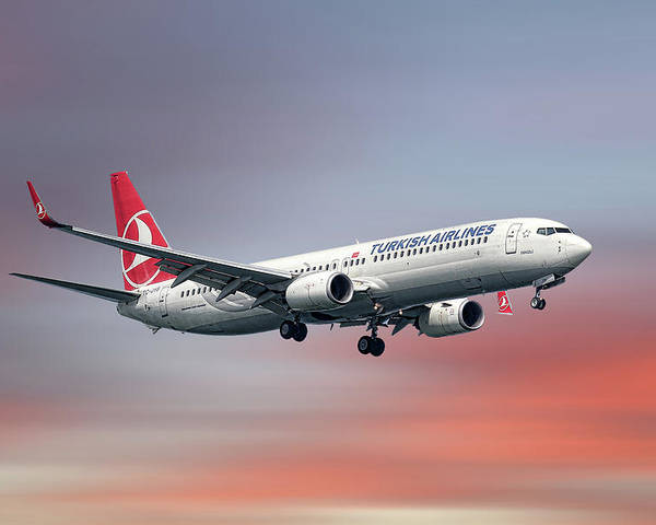 Turkish Poster featuring the mixed media Turkish Airlines Boeing 737-9f2 by Smart Aviation