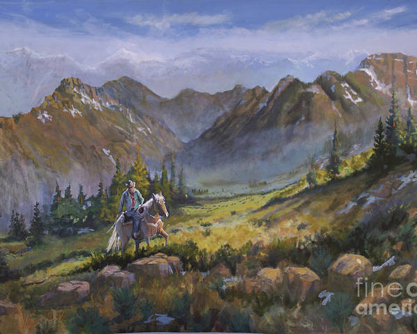 Rocky Mountains Poster featuring the painting Across the Divide by Heather Coen