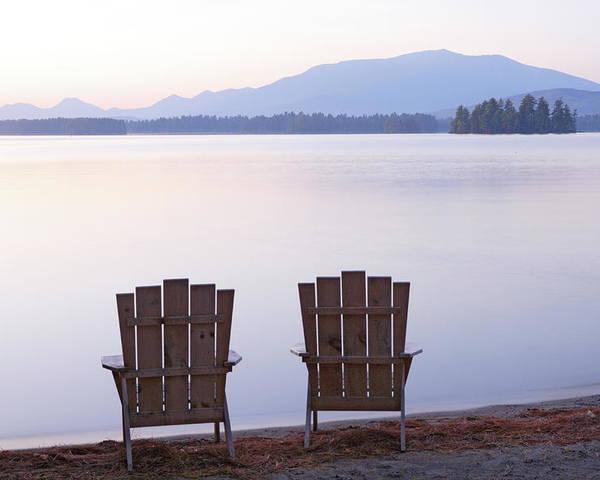 Adirondack Chairs On Millinocket Lake Poster