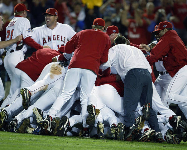 Los Angeles Angels Of Anaheim Poster featuring the photograph Angels Celebrate by Al Bello