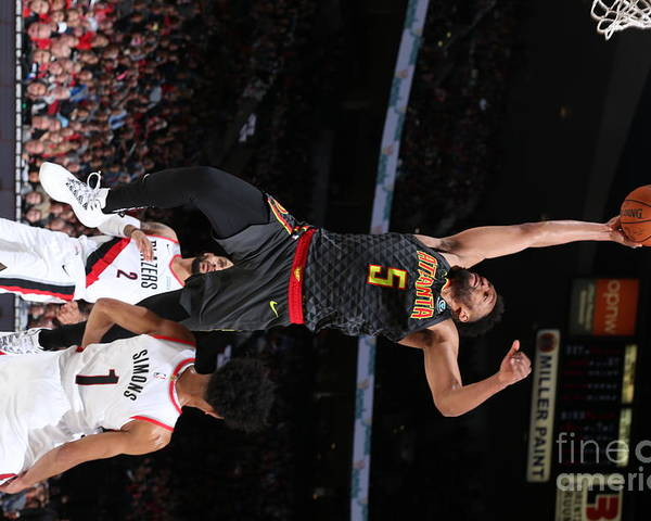 Nba Pro Basketball Poster featuring the photograph Atlanta Hawks V Portland Trail Blazers by Sam Forencich