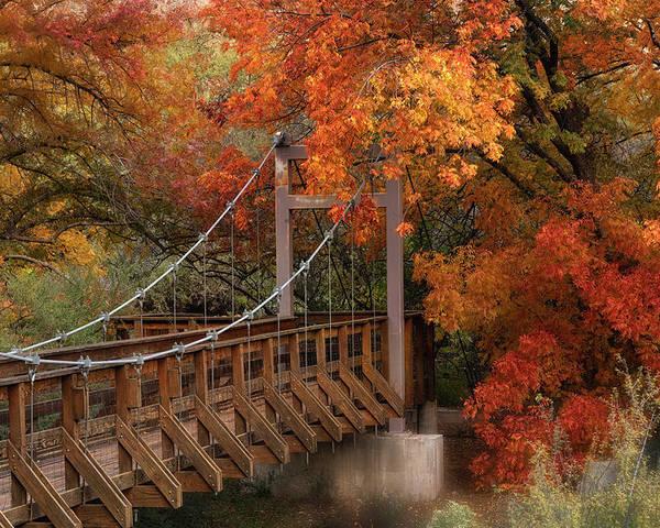 Autumn Poster featuring the photograph Autumn Across The Bridge by Saija Lehtonen