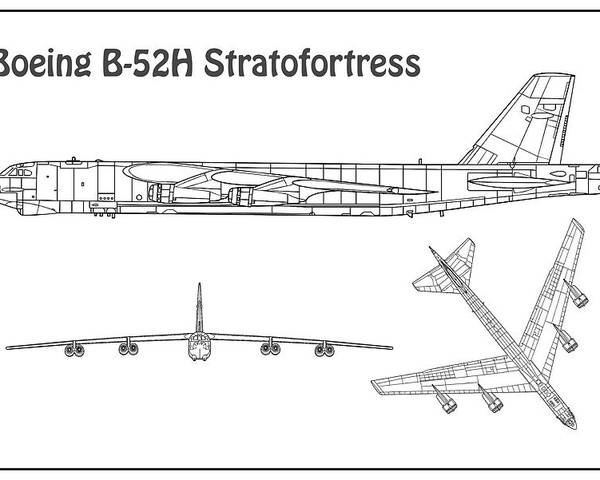b-52 poster featuring the drawing b-52 stratofortress - airplane blueprint   drawing