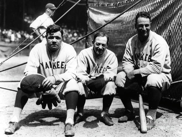 American League Baseball Poster featuring the photograph Babe Ruth Huggins Gehrig by Transcendental Graphics