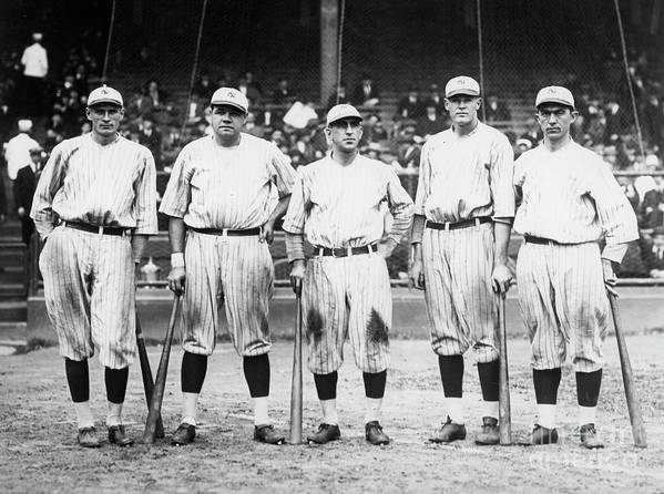 American League Baseball Poster featuring the photograph Babe Ruth Murderers Row 1921 by Transcendental Graphics