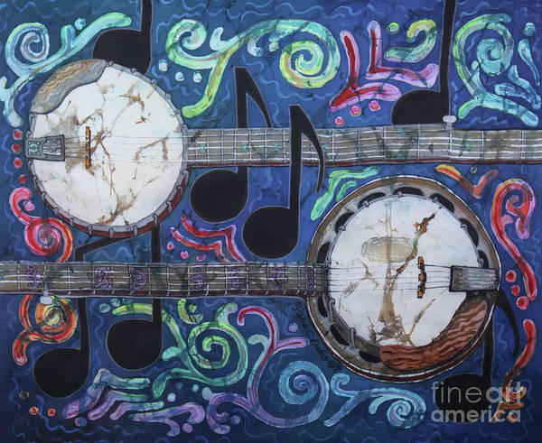 Banjos Poster featuring the painting Banjos by Sue Duda