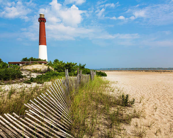 Water's Edge Poster featuring the photograph Barnegat Lighthouse, Sand, Beach, Dune by Dszc