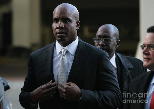 California Poster featuring the photograph Barry Bonds Perjury Trial Begins In San by Justin Sullivan