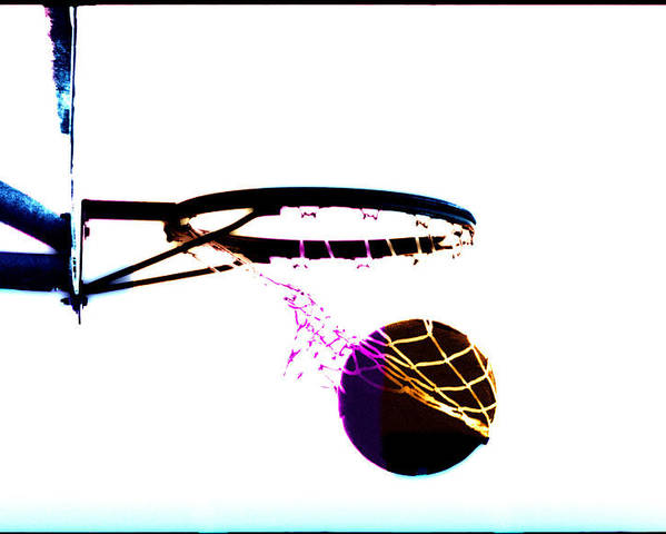 Scoring Poster featuring the photograph Basketball Going Through Net, Close-up by Cyberimage