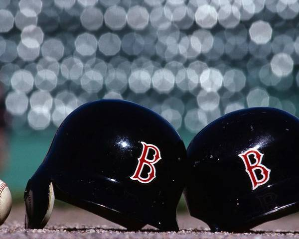 Headwear Poster featuring the photograph Batting Helmets by Ronald C. Modra/sports Imagery