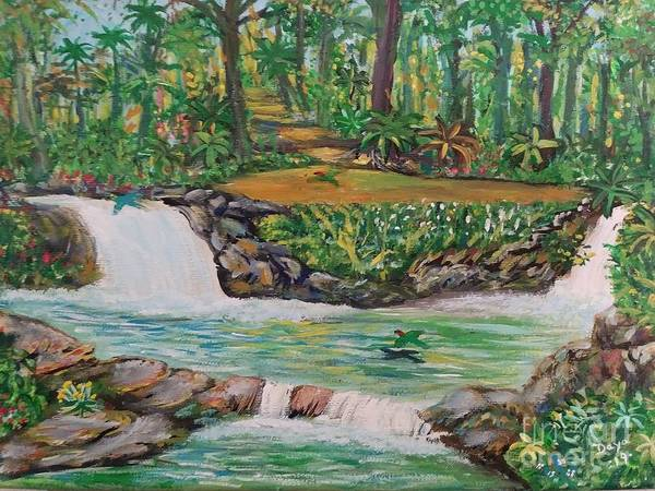 Landscape Poster featuring the painting Be Still by Deyanira Harris