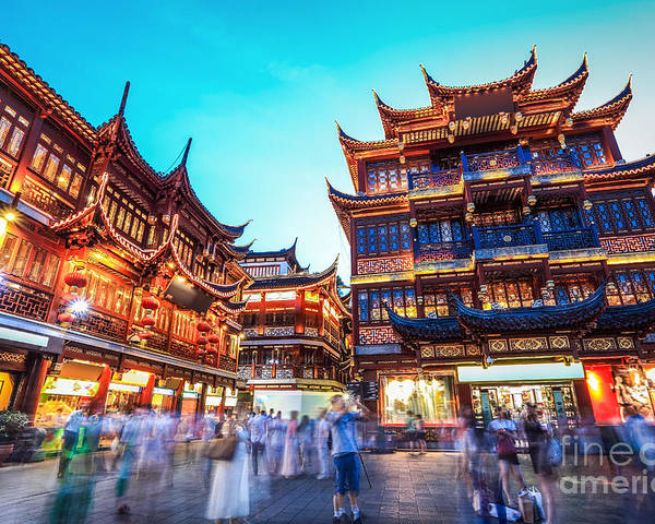 Commercial Poster featuring the photograph Beautiful Yuyuan Garden At by Chuyuss