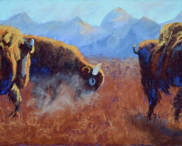Bison Poster featuring the painting Big Thunder by Nancy Jolley