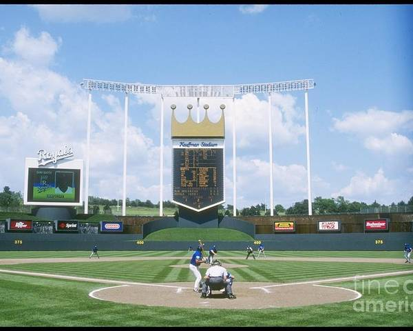 American League Baseball Poster featuring the photograph Blue Jays V Royals by Stephen Dunn