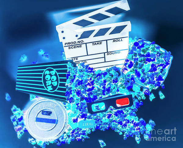 Popcorn Poster featuring the photograph Blue Screen Entertainment by Jorgo Photography - Wall Art Gallery