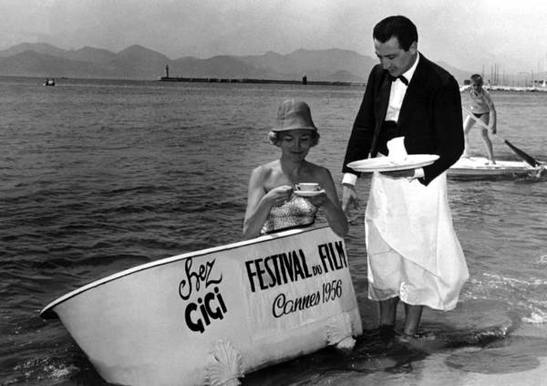 Breakfast Poster featuring the photograph Breakfast On The Beach Cannes In 1956 by Keystone-france