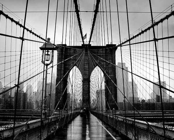 Clear Sky Poster featuring the photograph Brooklyn Bridge by Serhio.com Photography By Sergei Yahchybekov