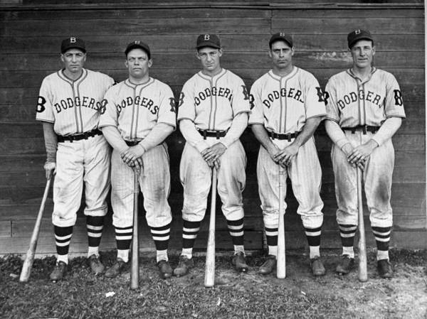 1930-1939 Poster featuring the photograph Brooklyn Dodgers Outfielders L. To R by New York Daily News Archive