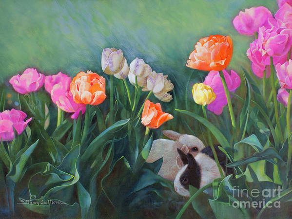 Baby Animal Child's Room Decor Poster featuring the painting Bunnies In The Blooms by Nancy Lee Moran