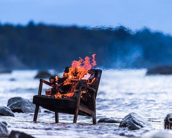 Flare Poster featuring the photograph Burning Old Armchair On The Seashore by Anatoli Styf