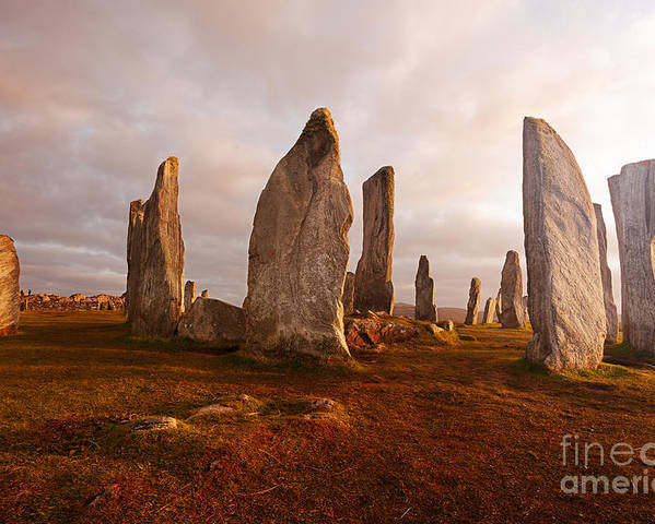 Dusk Poster featuring the photograph Callanish Standing Stones Neolithic by Unknown1861