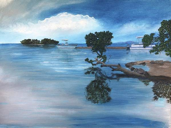 Seascape Poster featuring the painting Caribbean Calm by Tony Rodriguez