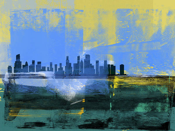 Chicago Poster featuring the mixed media Chicago Abstract Skyline I by Naxart Studio